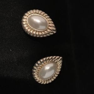 Costume Earrings - Gold with Large Pearl